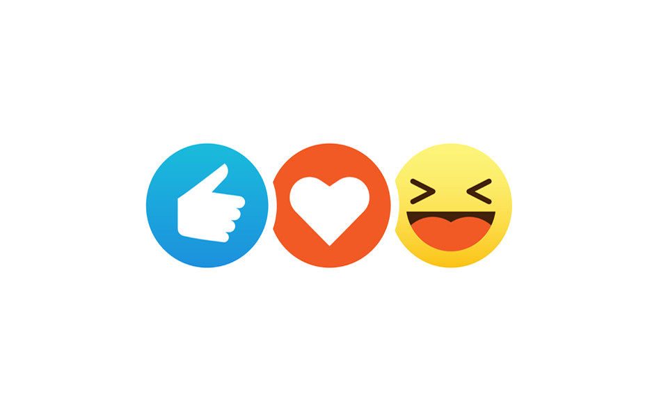 A selection of Facebook's reaction emojis.