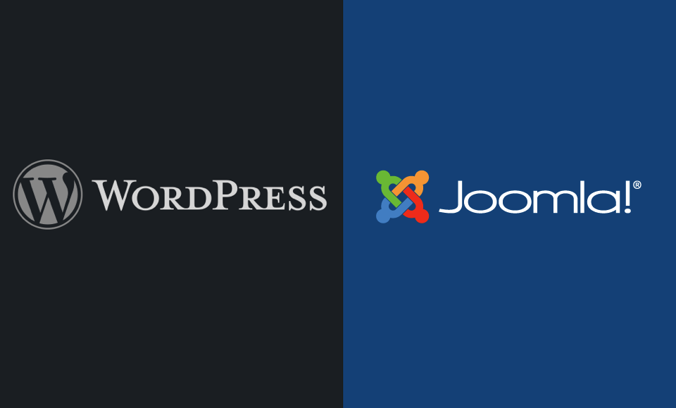 The WordPress and Joomla logos.